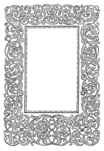 ornamental frame clip art, swirly vintage design, black and white clipart, fancy antique swirl, free digital download graphics