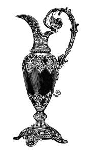 rhodian pitcher image, elegant vintage vase clipart, old fashioned mantle ornament, black and white clip art, antique jug illustration