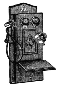 antique telephone clip art, black and white clipart, old phone illustration, old fashioned telephone image, old catalog phone listing
