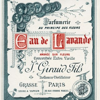 vintage french label, French ephemera graphic, antique beauty clipart, eau de lavande perfume label, Jn Giraud Fils