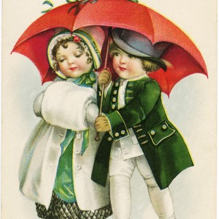 Victorian Children Christmas Postcard ~ Free Graphic