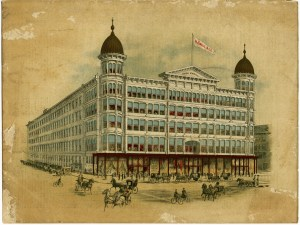 hugh oneill building, H O'Neill & Co, antique catalogue cover page, old architecture illustration, historic O'Neill building image