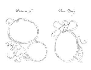 vintage baby clipart, black and white clip art, ribbon frame sketch, printable frame image, baby book illustration