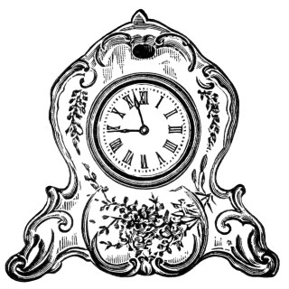 Free Vintage Image ~ Decorated Porcelain Clock Clip Art