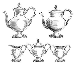 vintage tea set clip art, black and white clipart, old fashioned kitchen printable, coffee pot image, tea pot illustration, free coffee tea graphics