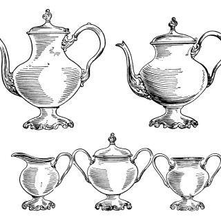 Free Vintage Coffee and Tea Set Clip Art