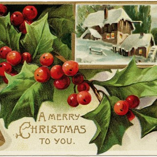Holly and Berries Vintage Christmas Postcard ~ Free Download