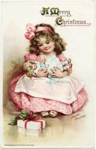 frances brundage, vintage christmas postcard, girl and doll clipart, girl holding dolly image, vintage people clip art