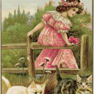 Vintage Christmas Postcard Girl and Kittens ~ Free Graphic