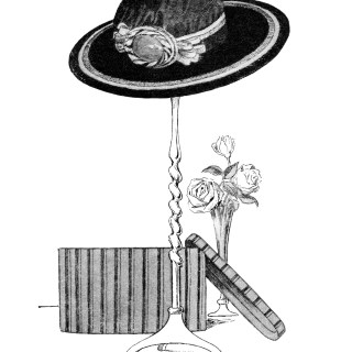 Free Clip Art ~ Vintage Ladies' Hat on Stand, Hat Box and Roses