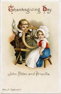 vintage clapsaddle postcard, john alden and priscilla, antique thanksgiving card, pilgrim children clipart, boy girl spinning wheel image
