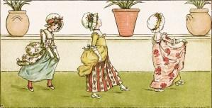 kate greenaway, marigold garden, tip a toe poem, victorian girl clip art, vintage printabe storybook image