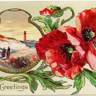 Free Vintage Image ~ Love's Greetings Poppies Postcard