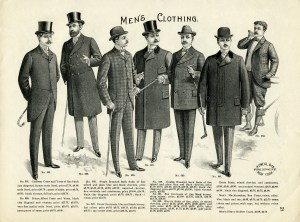 vintage mens clothing image, victorian era man illustration, antique catalogue page, free black and white clip art, old fashioned mens clothes