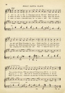vintage sheet music, jolly santa claus song, old fashioned christmas music, free music graphic, aged music page digital download