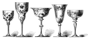 vintage wine glass clip art, antique wine goblet image, old fashioned drinking glass, victorian glass engraving, free black and white clipart