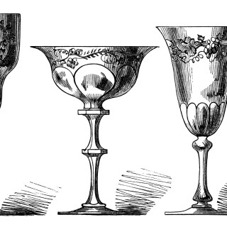 Antique Wine Glasses Engraving ~ Free Digital Clip Art Image