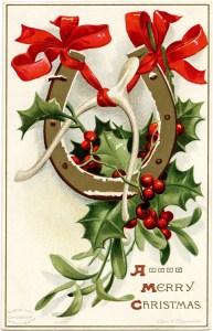 Ellen Clapsaddle, vintage christmas postcard, antique horseshoe card, wishbone holly berries image, printable christmas graphic