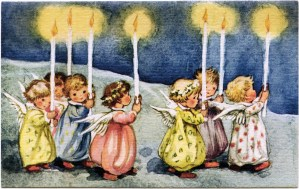 vintage angel clipart, little angels with candles, old fashioned Christmas graphic, printable holiday art, antique christmas card