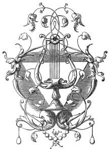 harp ornament,black and white clip art,vintage harp clipart,ornate engraving,swirly antique design