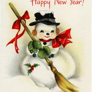 Vintage Snowman New Year Greeting Card Graphic