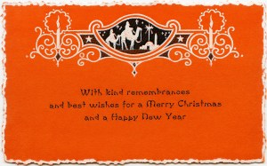 vintage christmas card, orange christmas graphic, old fashioned holiday image, antique greeting card