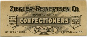 ziegler reinertsen co, vintage candy ephemera, victorian advertising card, old fashioned trade card, printable vintage graphic