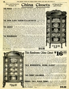 vintage kitchen clipart, black and white clip art, antique furniture image, printable kitchen graphics, old catalog page, antique china cabinet