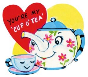 clipart valentine, free retro valentine, public domain valentine, tea valentine, teapot teacup clip art