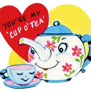 Free Retro 'Cup O Tea' Valentine Clip Art