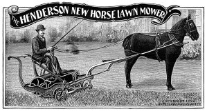 horse lawn mower, vintage clip art, garden printable, old fashioned lawn care, antique catalogue ad, black and white clip art