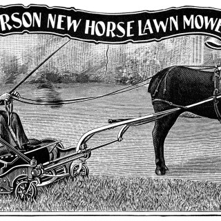 New Horse Lawn Mower ~ Free Antique Catalogue Ad and Clip Art