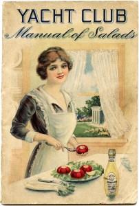 vintage food image, old cookbook cover, manual of salads, yacht club image, vintage kitchen printable, woman preparing food clipart