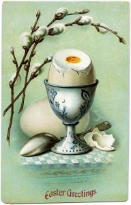 vintage easter postcard, egg in cup, cracked egg pussy willows image, printable easter, old easter card, vintage food clip art