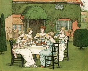 kate greenaway, the tea party, vintage storybook image, Victorian girls tea party, vintage garden party, Marigold Garden