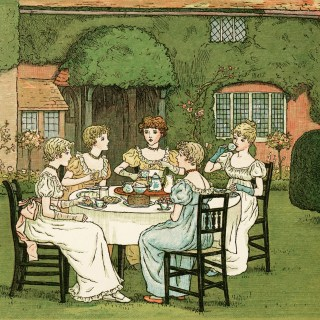 The Tea Party by Kate Greenaway ~ Free Vintage Storybook Image