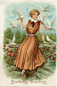 vintage birthday postcard, old fashioned birthday greeting, lady birds image, doves woman clipart, lady in rose garden