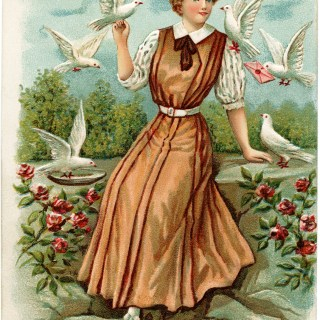 Vintage Birthday Postcard Lady and Birds ~ Free Digital Image
