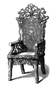 rustic chair clip art, chair engraving, black and white clipart, old fashioned furniture, victorian chair