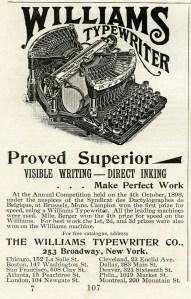 vintage typewriter clipart, black and white clip art, antique typewriter, williams typewriter advertisement, old magazine ad