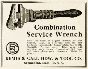 black and white clipart, vintage magazine advertisement, old fashioned wrench, antique tools clip art, free vintage graphics