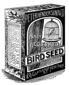 vintage bird clipart, black and white graphics, bird seed image, old advertising, vintage ephemera