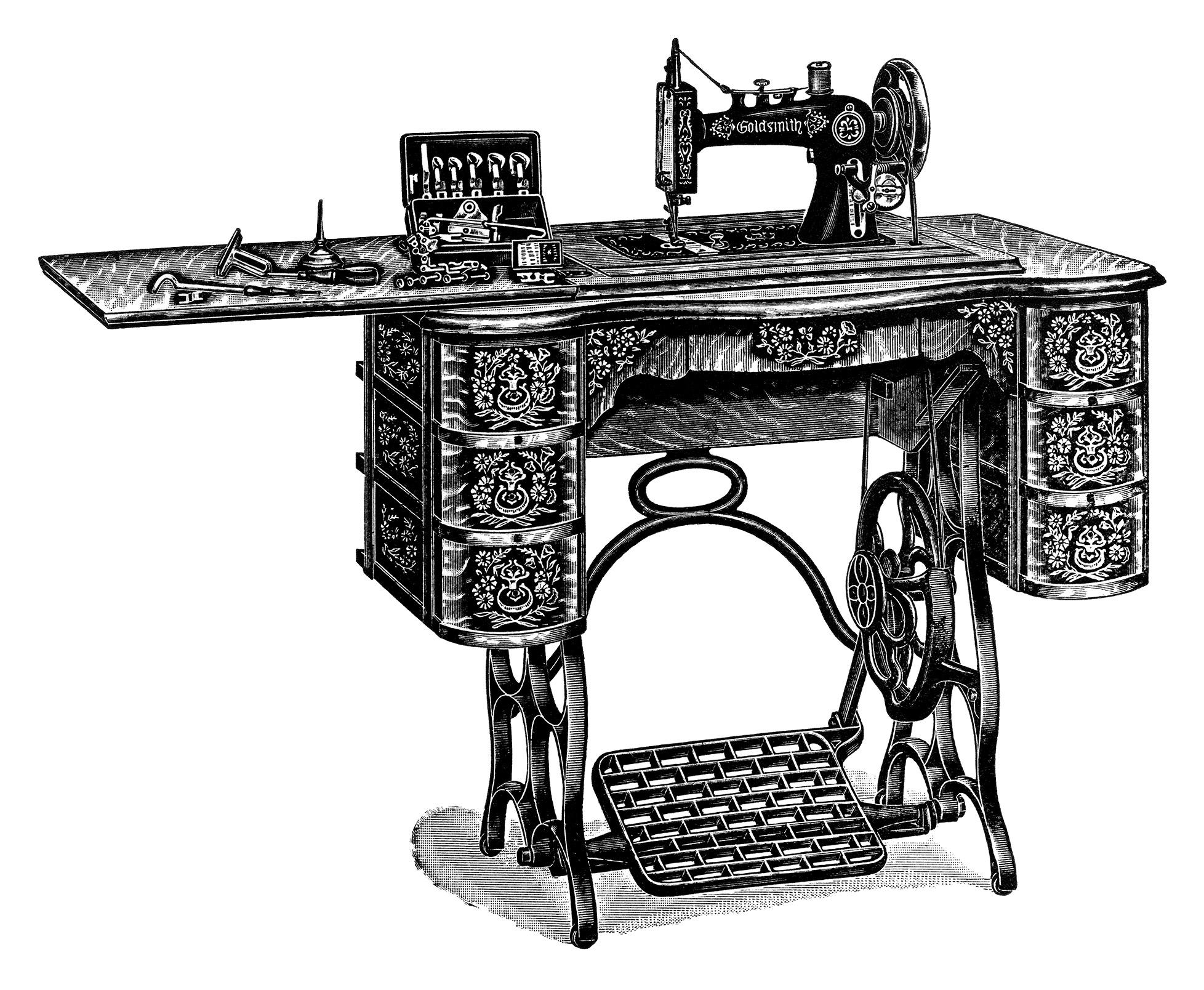 free vintage treadle sewing machine images catalogue page and clip art old design shop blog. Black Bedroom Furniture Sets. Home Design Ideas