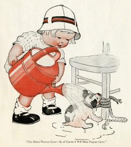 charles twelvetrees, free vintage clipart, watering the pup, vintage child clip art, twelvetrees boy, make puppies grow