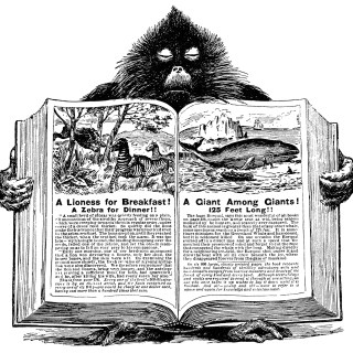 Baboon Holding Open Book ~ Free Vintage Clip Art