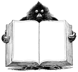 baboon holding book, unique vintage clipart, black and white graphics, open book blank pages, animal clip art