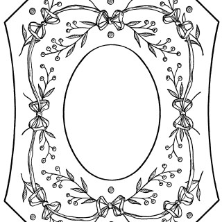 Berries and Bows Victorian Embroidery Picture Frame ~ Free Clip Art
