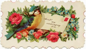 Victorian calling card, vintage card flowers bird, vintage floral clip art, old fashioned ephemera free