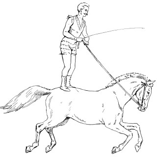 Circus Performer Riding Horse ~ Free Vintage Clip Art