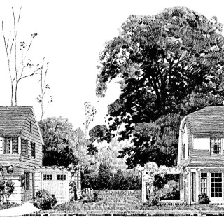 Vintage Homes with Attached Garages ~ Free Vintage Image and Floor Plans Clip Art